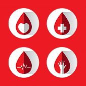 Vector Of Blood Drops Set With Symbol Inside