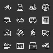 Transport web icons, grey set