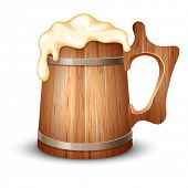 Wooden mug full of beer, with froth, vector illustration