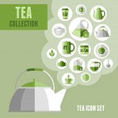 Set of tea icons in flat style