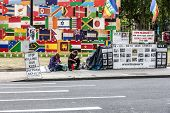 London Activist Stand On Parliament Square