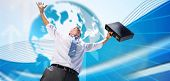 Businessman holding briefcase and cheering against global business graphic in blue