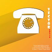 Retro telephone. Flat modern web button with long shadow and space for your text