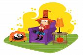 picture of witch ball  - Cute witch is knitting a spider web for her pet spider - JPG