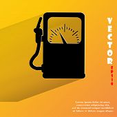 Gas, fuel station. Flat modern web button with long shadow and space for your text