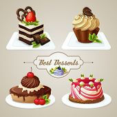 stock photo of sponge-cake  - Decorative sweets desserts set with shortcrust sponge cake and pudding isolated vector illustration - JPG