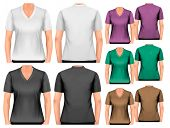 Female v-neck t-shirts. Design template. Vector.