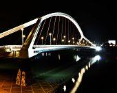 Modern White Bridge by Night