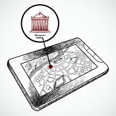Sketch draw tablet pc with navigation map