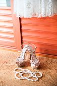 Wedding Shoes, Dress And Pearl Necklace. Wedding Accessories.
