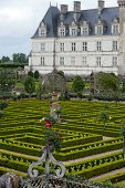 garden in Chateau de Villandry. Loire Valley France