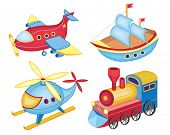 set of transport toys (vector illustration)