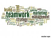 Vector eps concept or conceptual abstract teamwork and success word cloud or wordcloud isolated on w