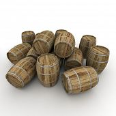 3D rendering of a group of wine barrels on a white background