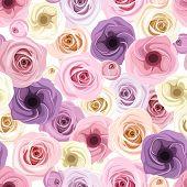 Seamless background with roses and lisianthus flowers. Vector illustration.