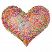Heart Shape Composed Of Colorful Striplines