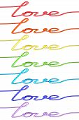 Set Of Colorful 'love' Words Made Of Wire Isolated On White