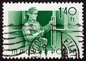 Postage Stamp Hungary 1955 Streetcar Conductor
