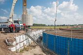 Construction Site Of A Foundation For A Huge New Dutch Wind Turbine