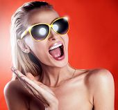 Portrait Of Girl With Sunglasses.