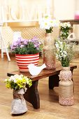 Home interior decoration with flowers