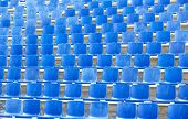 foto of bleachers  - Empty blue seats at a sporting arena - JPG