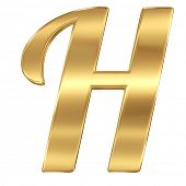 Golden shining metallic 3D symbol letter H - isolated on white