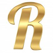 Golden shining metallic 3D symbol letter R - isolated on white