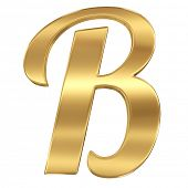Golden shining metallic 3D symbol letter B - isolated on white