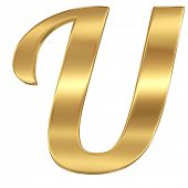 Golden shining metallic 3D symbol letter U - isolated on white
