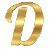 Golden shining metallic 3D symbol letter D - isolated on white