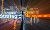 Strategic Management Word Cloud Glowing