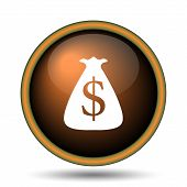 stock photo of sack dollar  - Dollar sack icon - JPG