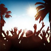 Silhouette of a party crowd on a tropical background