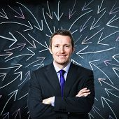 portrait of businessman and blackboard background