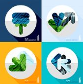 Modern geometric infographic set in trendy flat style. Business abstract layout collection