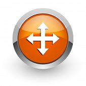arrow orange glossy web icon