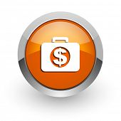 financial orange glossy web icon