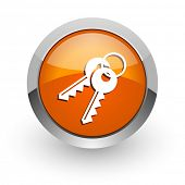 keys orange glossy web icon