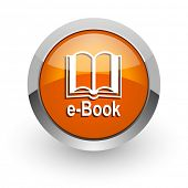 book orange glossy web icon