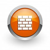 firewall orange glossy web icon