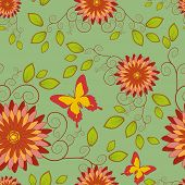Seamless Pattern With Flower And Butterfly