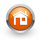 house orange glossy web icon