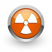 radiation orange glossy web icon