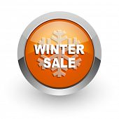 winter sale orange glossy web icon