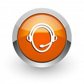 customer service orange glossy web icon