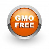 gmo free orange glossy web icon