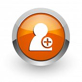 add contact orange glossy web icon