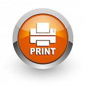 printer orange glossy web icon
