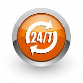 service orange glossy web icon